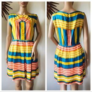 Lauren Moffatt Striped Fit & Flare Silk Dress